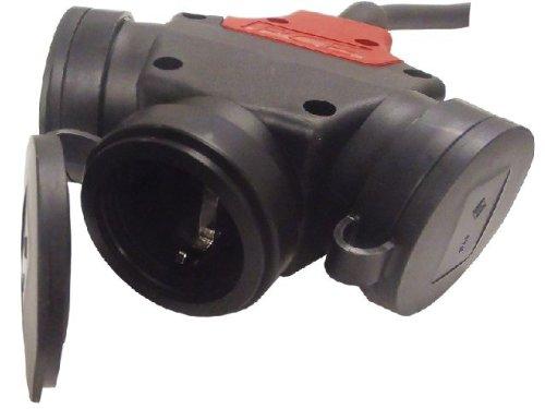 Adapter Verlängerung Stromverteiler 15m 3x2,5mm² H07RN-F Schukostecker auf Dreifachkupplung 3x230V Verteiler