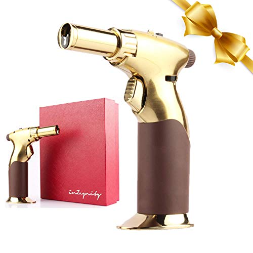 Luxury 2IN1 All Adjustable With One Hand  Gold  Powerful Butane TORCH amp LIGHTER  by inZaynity  with Ignition lock for Soldering Cooking Welding Cigar Lighter