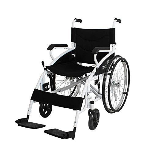 IREANJ Silla de rehabilitación médica, Silla de ruedas, Sillas de ruedas plegables 17Kg portátil ultra ligero y cómodo armas Piernas de elevación for descansar 100Kg de carga de apoyo 46 * 41c