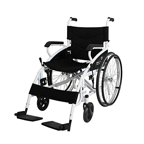 Yhtech Silla de rehabilitación médica, Silla de ruedas, Sillas de ruedas plegables 17Kg portátil ultra ligero y cómodo armas Piernas de elevación for descansar 100Kg de carga de apoyo 46 * 41cm Anchur