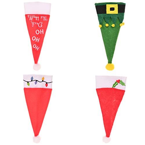 Amosfun 4 Pezzi Tasche Porta Posate di Natale Mini Cappelli Santa Copri Topper Vino Natalizi Calzini portaposate Natalizie