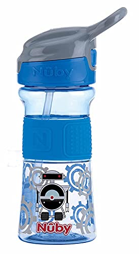 Nuby - Tritan Flip-It Straw Cup with Silicone Handle - 360 ml - 3 Years + Blue - 170 g