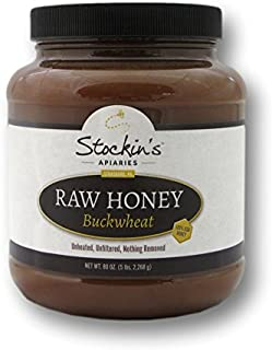Stockin's Unheated and Unfiltered Raw Buckwheat Honey, 5 Lb. Container