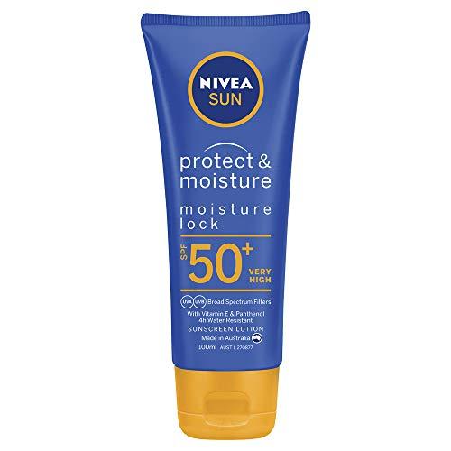 NIVEA SUN Protect & Moisturising 4 Hour Water Resistant Sunscreen Lotion. Made in Australia with Vitamin E & Panthenol, SPF50+ 100ml (86065)
