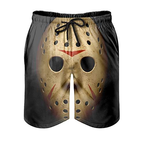 WellWellWell Bañador de verano para hombre con bolsillos, estilo retro, máscara de portero, para Halloween, pantalones cortos de natación, maletín de natación, estilo retro blanco M