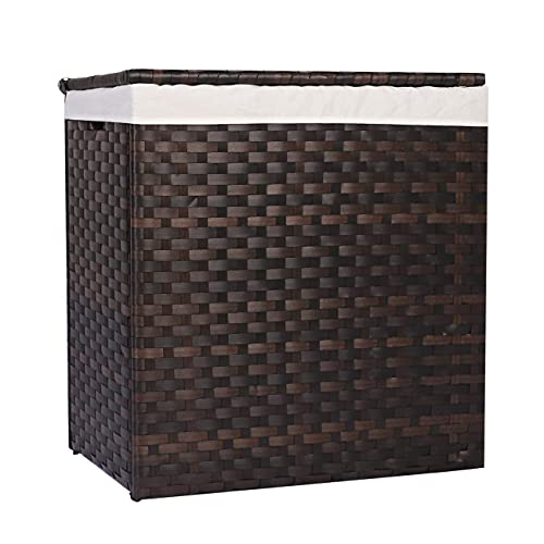 TENGREEN Rattan Laundry Hamper, Fold-able Clothes Basket with Removable Liner Bag, Handles and Lid for Bedroom and Bathroom, Dark Brown
