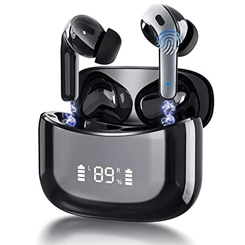 Bluetooth Kopfhörer In Ear, Bluetooth Kopfhörer 5.0 mit Mikrofon, 35 std Spielzeit, IPX7 Wasserdicht, HiFi Stereo Kopfhörer Kabellos für Arbeit, Studium, Training, Joggen