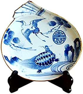 飾り皿 絵皿 スタンド付き 有田焼 陶器 伝統工芸品 日本製 縁起物 長寿 鶴亀紋 福袋皿 21.3cm 木箱入り