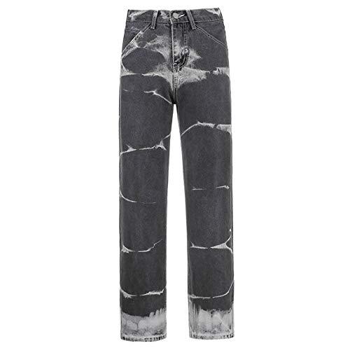 Ladies Y2k Loose Jeans Jogger Mujeres Streetwear Retro Straight Denim Pants Jeans de Cintura Alta