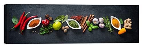 LuxHomeDecor Cuadro de especias para cocina, bar, restaurante, 100 x 30 cm, impresión sobre lienzo con marco de madera, decoración artística