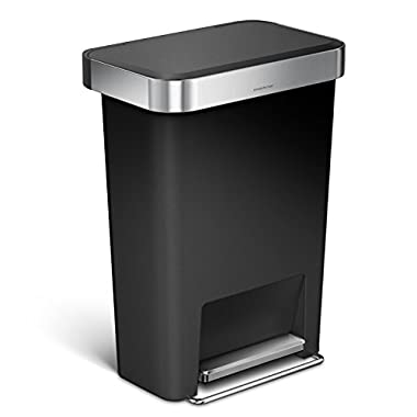 simplehuman 45 Liter / 12 Gallon Rectangular Kitchen Step Trash Can with Liner Pocket, Black Plastic With Stainless Steel Liner Rim And Step Pedal