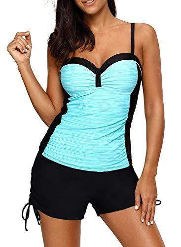 Aleumdr Traje de baño tankini para mujer con diseño de barriga y push-up, con aros, tamaño grande y elástico, tallas S-XXXL 2-sky blue M