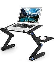 Kiss U laptopbord/laptop ställ/vikbar laptop skrivbord säng soffa lätt aluminiumlegering bord med musplattform, lutning läsbar läsbräda för soffa, bok, tidning och frukost