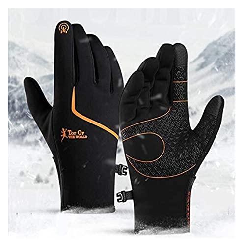 HAOKTSB Guanti da Esterno Guanti da Ciclismo Invernali, Touch Screen Impermeabile Guanti Caldi for Uomo e Donna Guanti (Color : Black+Orange, Size : XL)