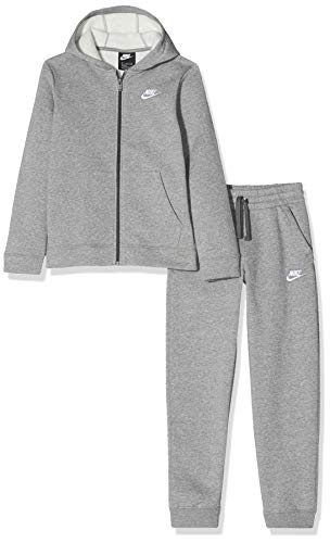 Nike Jungen U NSW CORE BF TRK Suit Tracksuit, Carbon Heather/Dark Grey/Carbon Heather/(White), L