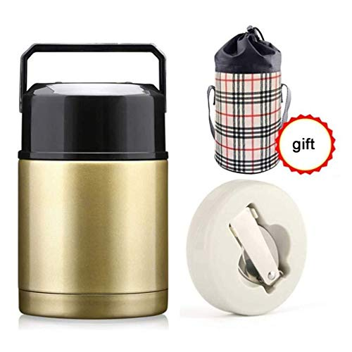 Soep Fles Met Lepel Lunch Box Stainless Steel Voedsel Containers vacuümgeïsoleerde Eten kolven met Folding Lepel En Zak (Color : Gold)