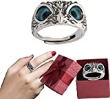 YDCX Owl Ring, Demon Eye Owl Ring Real 925 Sterling Silver, Crystal Animal Bird Owl Ring Statement Ring, Cute Animal Unique Design Ring Jewelry Gift, for Women & Men