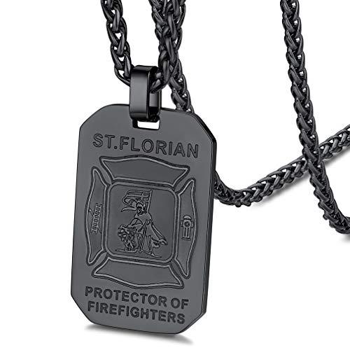 FaithHeart schwarz Herren Anhänger Schutzpatron Florian Anhänger Tailsman Amulett für Feuerwehrmann Feuerwehrleute