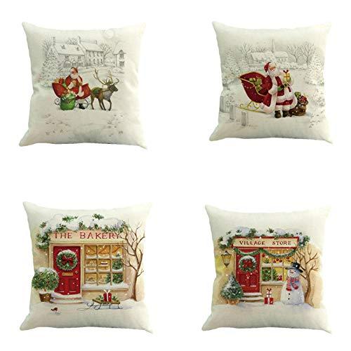 whcct Cute Santa Claus Elk Snowman Funda de Almohada de Lino Car Home Fundas de Almohada de impresión Digital