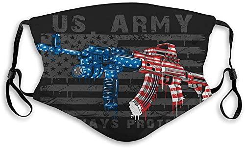 Hirola Escudo bucal transpirable reutilizable al aire libre águila América ejército soldado ilustración-América EE.UU. bandera con ametralladora editable