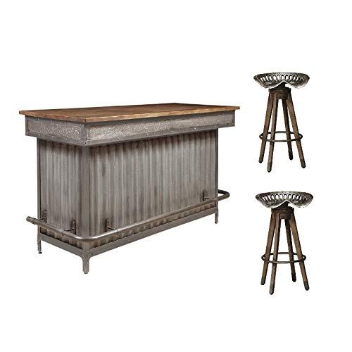 Pulaski Wood and Metal Bar with 2 Tractor Seat Barstools