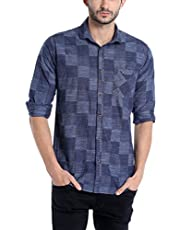 Campus Sutra Men's Polo Neck Full Sleeve Checkered Casual Cotton Shirt(AZ17SHRT_BGCHK1_M_PLN_DNBU_AZ_L)