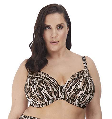 Elomi Plus Size Fierce Plunge Bikini Top, 40GG, Black