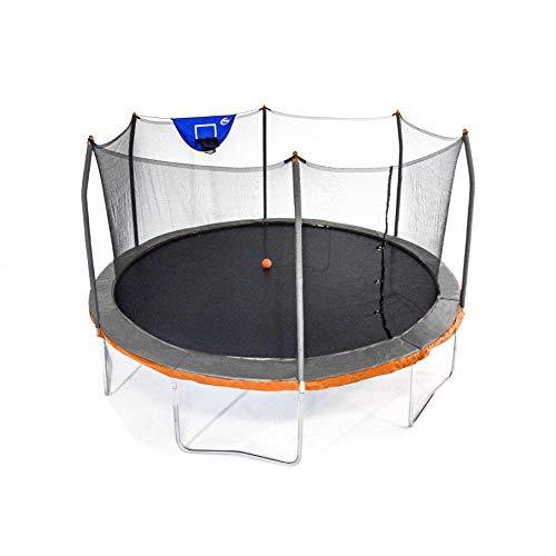 Skywalker Trampolines 15 Foot Jump N Dunk Round Trampoline with Enclosure-Basketball- Dual Gray/Orange