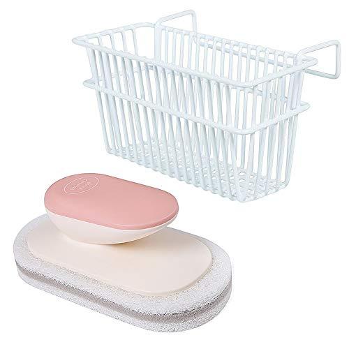 Sponge Holder for Kitchen Sink and Sponge Scrub Brush with Handle, Stainless Steel Kitchen Sink Caddy, Soap Dishwashing Liquid Drainer Rack Dish brush Draining Sink Basket
