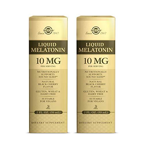 Solgar Liquid Melatonin 10 mg, Natural Black Cherry Flavor - 2 oz, 2 Pack - Supports Sound, Quality Sleep - Helps Normal Circadian Rhythm - Great for Jet Lag - Vegan, Gluten Free - 118 Total Servings