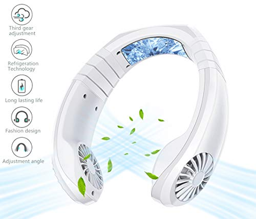 Hand Free Personal Fan - Rechargeable Portable Mini USB Battery Neck Fan,3 Level Air Flow - Small Dual Effect Cooling Air Conditioner Neck Fan for Home,Office,Sports,Working,Travel,Outdoor