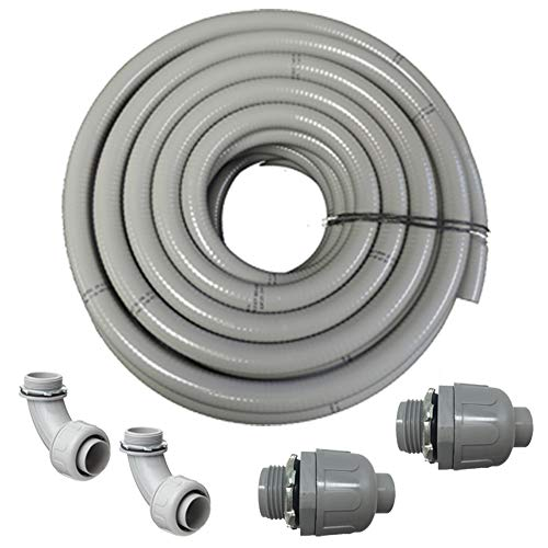 Flexible PVC Non Metallic UL Liquid Tight Electrical Conduit Kit with 2 Straight and 2 Angle Fittings Included (1.50