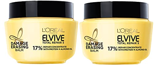 L'Oreal Paris Hair Care Elvive Total Repair 5 Damage Erasing Balm, Conditioning Hair Mask for Damaged Hair, with Almond and Protein, 8.5 fl; oz, (Pack of 2)