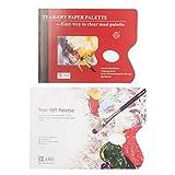 Weiqiao® - Paleta de pintura desechable, lavable, de papel impermeable, mezcla de gota, herramienta de acrílico al óleo para dibujar niños, artesanía, 72 hojas