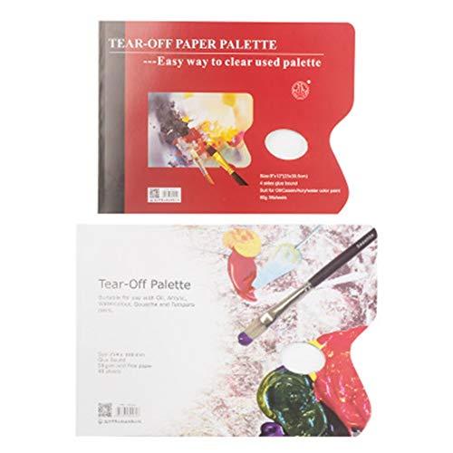 Weiqiao® - Paleta de Pintura desechable Lavable de Papel Impermeable, Mezcla de Gotas de óutico, acrílico, al óleo, para Dibujar niños, artesanía, 72 Hojas