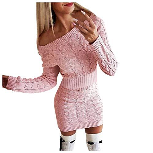 Vestiti in Maglia Donna Eleganti Mini Abiti Sexy Donne Invernale Lavorato Casual Maglietta a Manica Lunga Vestito Vintage Moda Abbigliamento Maglioni Lunghi Classico Vestito Collo Alto