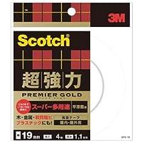 (まとめ) 3M スコッチ 超強力両面テープ プレミアゴールド (スーパー多用途) 19mm×4m SPS-19 1巻 【×4セット】 ds-1574054