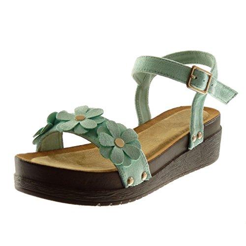 Angkorly - Damen Schuhe Sandalen Mule - Plateauschuhe - knöchelriemen - Blumen - Nieten - besetzt - Wooden Keilabsatz high Heel 4.5 cm - Türkis S51 T 36