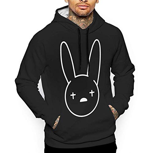 Yougou Bad Bunny Muisc Logo Men's Casual Pullover Fashion Printing Hooded Sweatshirt with Pocket