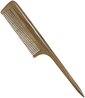 CCbeauty Rat Tail Hair Comb No Static Natural Wooden Green Sandalwood Comb Handmade Detangling Fine Tooth Hair Comb with Teasing Tail Handle