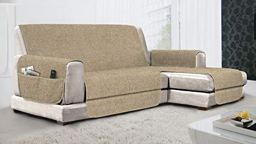 MB HOME BASIC Funda de sofá Antideslizante con Chaise Longue DX Relax, Color Crema, 290 cm