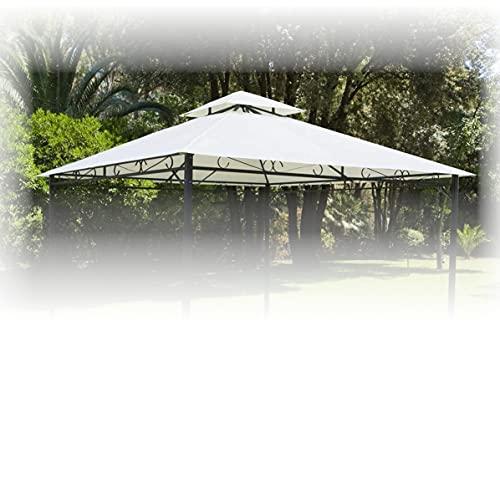 Telo Telone di Ricambio per Copertura Gazebo 300x300 cm 180 gr/mq colore beige con airvent Antivento