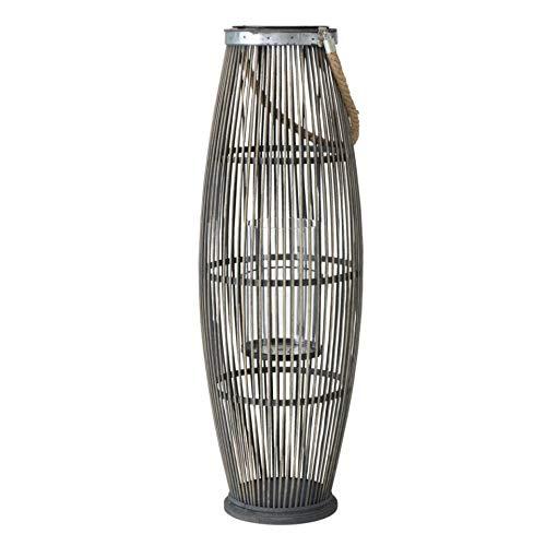 Farol XL de bambú gris con cordón, altura de 75 cm