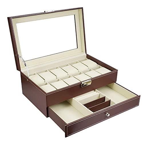 12 Slots Mens Watch Organizer Faux Cuero Joyería Pantalla Funda de almohada, Caja de joyería de colección Almacenamiento, Caja de reloj de bloqueo Bandeja de pulsera con cajón de joyería de vidrio for