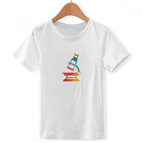 DIYthinker Jungen Cartoon Mikroskop Chemie Muster Rundhalsausschnitt Weißes T-Shirt XX-Groß Mehrfarbig