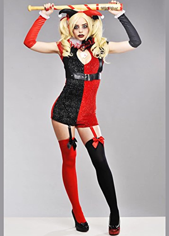 Damen Nette Glitter Harley Quinn Stil Kostüm S (UK 8-10)