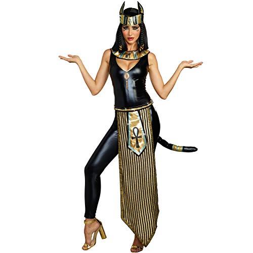 Dreamgirl Disfraz de diosa egipcia para mujer, diseo de gato, diosa de gato, diosa egipcia, talla L