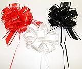 CaPiSo 3 lazos grandes de 18 cm en color rojo, blanco y negro