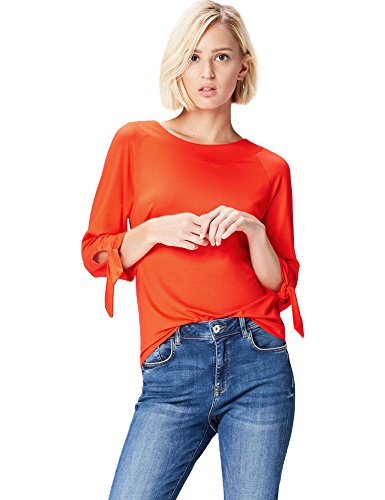 Marchio Amazon - find. Blusa con Manica a Tre Quarti Donna, Rosso (Red Tomato), 40, Label: XS