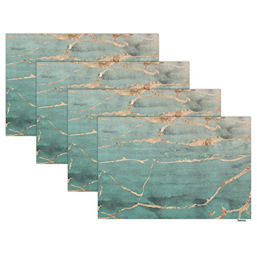 Swono Green Marble Placemats,Rose Gold Metallic Marble Foil Overlaid on Jade Green Watercolor Place Mats Home Decoration for Dinner Table,Indoor Outdoor Waterproof Kitchen Table Mats Set of 4,12'X18'
